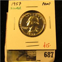 1957 Silver PROOF Washington Quarter, value $15