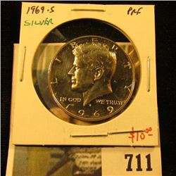 1969-S Silver PROOF Kennedy Half Dollar, value $10