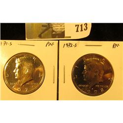 (2) PROOF Kennedy Half Dollars, 1971-S & 1972-S, pair value $10