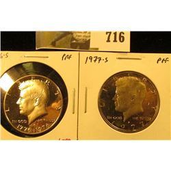 (2) PROOF Kennedy Half Dollars, 1976-S & 1977-S, pair value $10