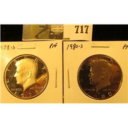 (2) PROOF Kennedy Half Dollars, 1978-S & 1980-S, pair value $8