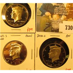 (3) PROOF Kennedy Half Dollars, 2008-S, 2009-S, 2010-S group value $19