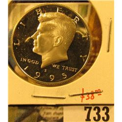 1995-S Silver PROOF Kennedy Half Dollar, value $33