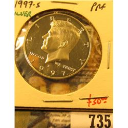 1997-S Silver PROOF Kennedy Half Dollar, value $30