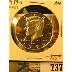 1999-S Silver PROOF Kennedy Half Dollar, value $25