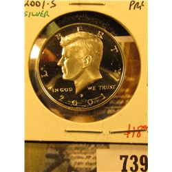 2001-S Silver PROOF Kennedy Half Dollar, value $18