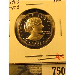 1980-S Type 1 PROOF Susan B. Anthony Dollar, value $6