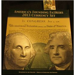 America's Founding Fathers 2013 Currency Set, issued by the Department of the Treasury, BEP – featur