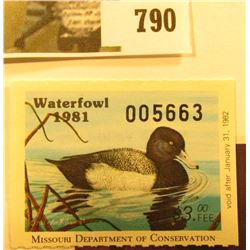 Cat. #MO3 1981 Missouri Waterfowl Stamp, unsigned, VF, NH. Cat, Value $57.00 by Sam Houston Philatel
