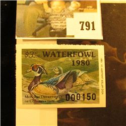 Cat. #MO2 1980 Missouri Waterfowl Stamp, unsigned, EF, NH. Cat, Value $125.00 by Sam Houston Philate