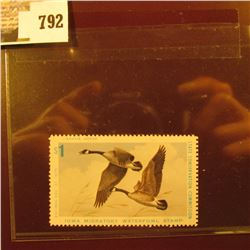 Cat. #IA4 1975 Iowa Migratory Waterfowl Stamp, VF, NH, perfed 4 Sides, not signed, depicts Canada Ge