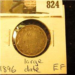 1896 Newfoundland 20c Piece, EF, Large Date Variety.