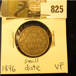 1896 Newfoundland 20c Piece, VF, Small Date Variety.