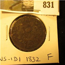 1832 Nova Scotia Half Cent Token, Fine, Charlton NS-1D1