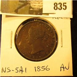 1856 Nova Scotia Half Cent Token, AU, Charlton NS-5A1