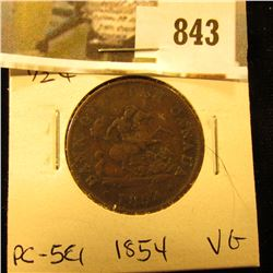 1854 Bank of Upper Canada Half Penny Token, VG PC-5C1.