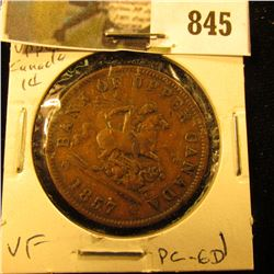 1857 Bank of Upper Canada Half Penny Token, VF, Charlton PC-6D.