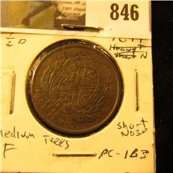 1844 Bank of Montreal Half Penny Token, Fine, Charlton PC-1B3.