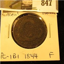 1844 Bank of Montreal Half Penny Token, Fine, Charlton PC-1B1.
