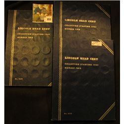 (3) 1941 Up Sets of Lincoln Cents in blue Whitman folders.