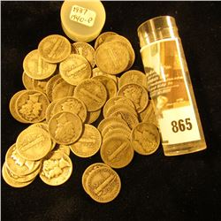 Roll of (50) Old Silver Mercury Dimes in a plastic tube.