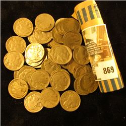 Full Roll of Old U.S. Buffalo Nickels in a plastic tube.