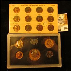1959-64 Lincoln Cent Set in holder and 1971 S U.S. Proof Set, original as issued.