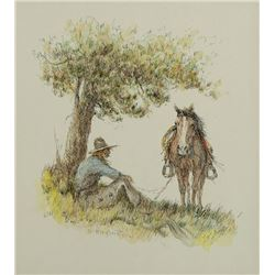 Olaf Wieghorst -Cowboy Sitting Under Tree