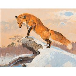 Bob Kuhn -Red Fox Contemplating a Snack