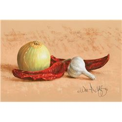 William Acheff -Still Life with Onion, Chilies and Garlic