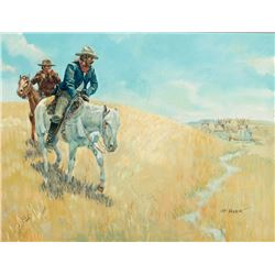Joe Beeler -Cowboys Approach Indian Encampment