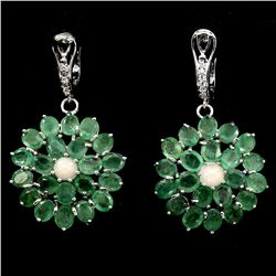 Natural Green Emerald Fire Opal 61 Ct Earrings