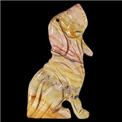 Natural Stone Hand Carved Dog Pendant