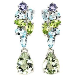 Natural AMETHYST PERIDOT TANZANITE TOPAZ earrings
