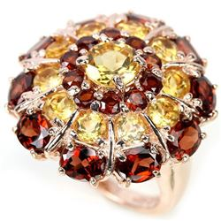 NATURAL DARK ORANGE RED GARNET & CITRINE Ring