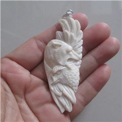 Hand Carved Wolf & Eagle Pendant