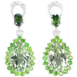 Natural GREEN AMETHYST, CHROME DIOPSIDE Earrings