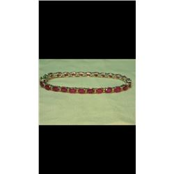 Genuine Ruby & Diamond Solid Gold Tennis Bracelet