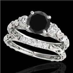 1.35 CTW Certified VS Black Diamond 3 Stone Set 10K White Gold - REF-51W6F - 35433