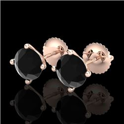 2 CTW Fancy Black Diamond Solitaire Art Deco Stud Earrings 18K Rose Gold - REF-52X8T - 38242