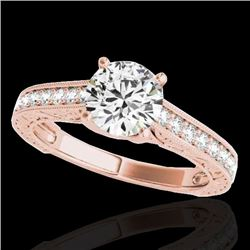 1.32 CTW H-SI/I Certified Diamond Solitaire Ring 10K Rose Gold - REF-154W4F - 34944