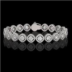 13.06 CTW Cushion Cut Diamond Designer Bracelet 18K White Gold - REF-2253Y3K - 42806