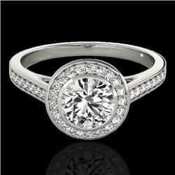 1.3 CTW H-SI/I Certified Diamond Solitaire Halo Ring 10K White Gold - REF-168A4X - 33625
