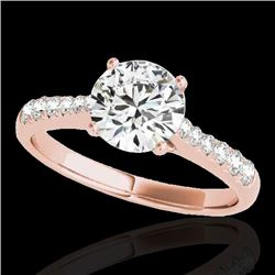 1.25 CTW H-SI/I Certified Diamond Solitaire Ring 10K Rose Gold - REF-200F2N - 34820
