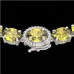 45.25 CTW Citrine & VS/SI Diamond Tennis Micro Pave Halo Necklace 14K White Gold - REF-244N5Y - 4026