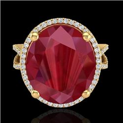 12 CTW Ruby & Micro Pave VS/SI Diamond Halo Ring 18K Yellow Gold - REF-143H6A - 20966