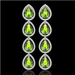 8.4 CTW Peridot & Diamond Halo Earrings 10K White Gold - REF-172H2A - 41309
