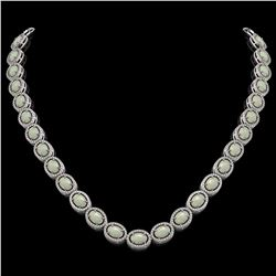 32.42 CTW Opal & Diamond Halo Necklace 10K White Gold - REF-670M8H - 40568