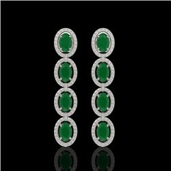 6.47 CTW Emerald & Diamond Halo Earrings 10K White Gold - REF-114Y2K - 40502