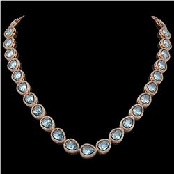 41.6 CTW Sky Topaz & Diamond Halo Necklace 10K Rose Gold - REF-595F5N - 41217
